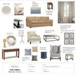 brown sofa living room design mood board