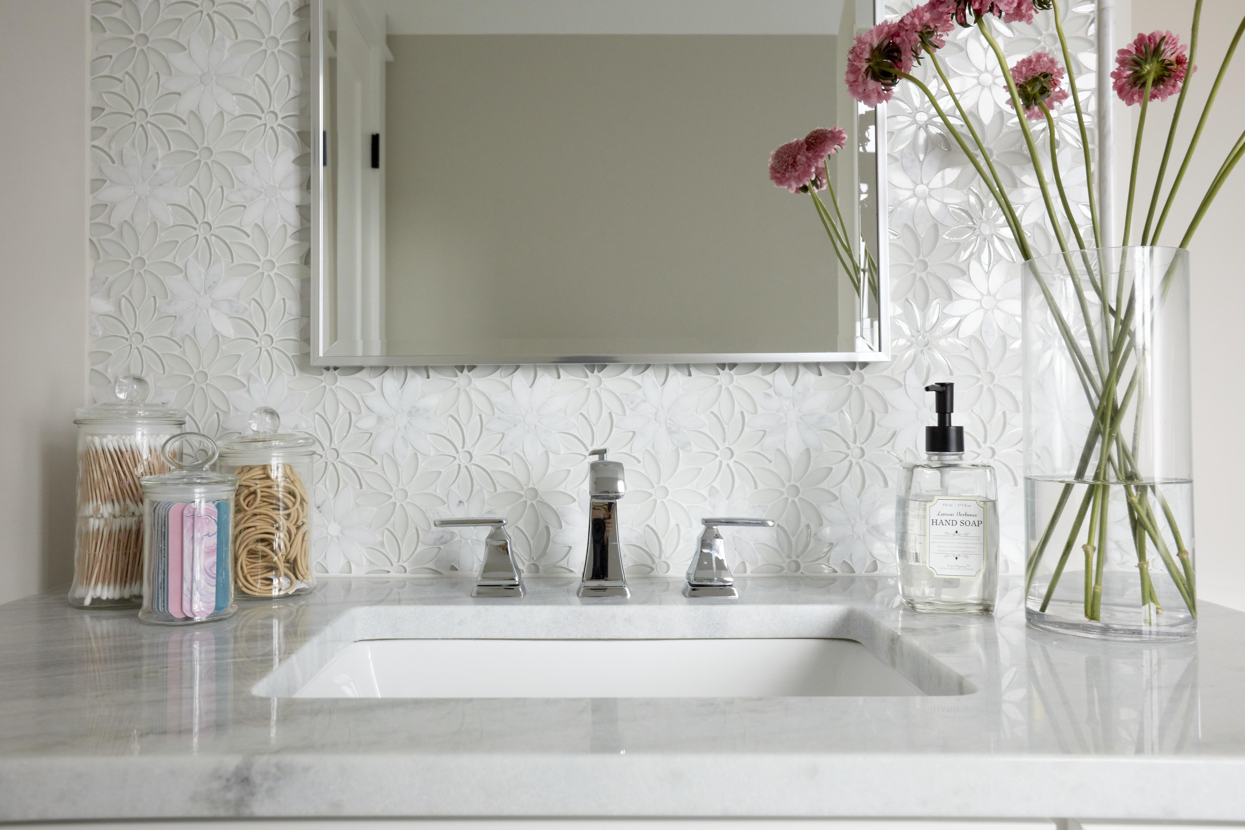 Daisy tile girls bathroom and chrome faucet