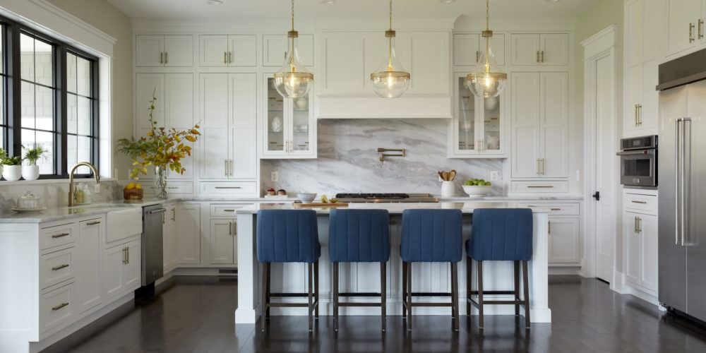 Frederick New Construction kitchen with gold accents and pendant lighting