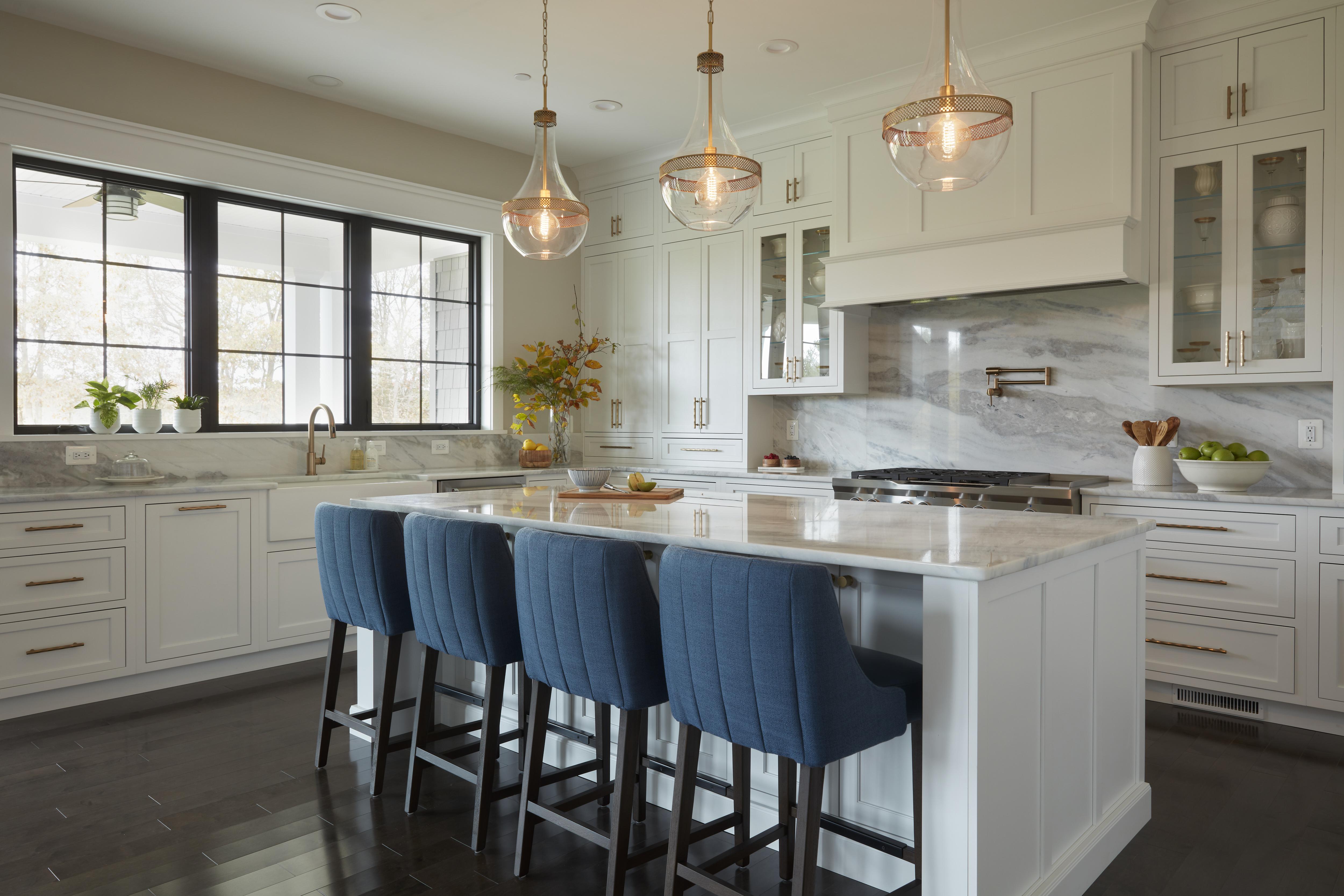 Kitchen Island lighting, Bar stools and marble back splash