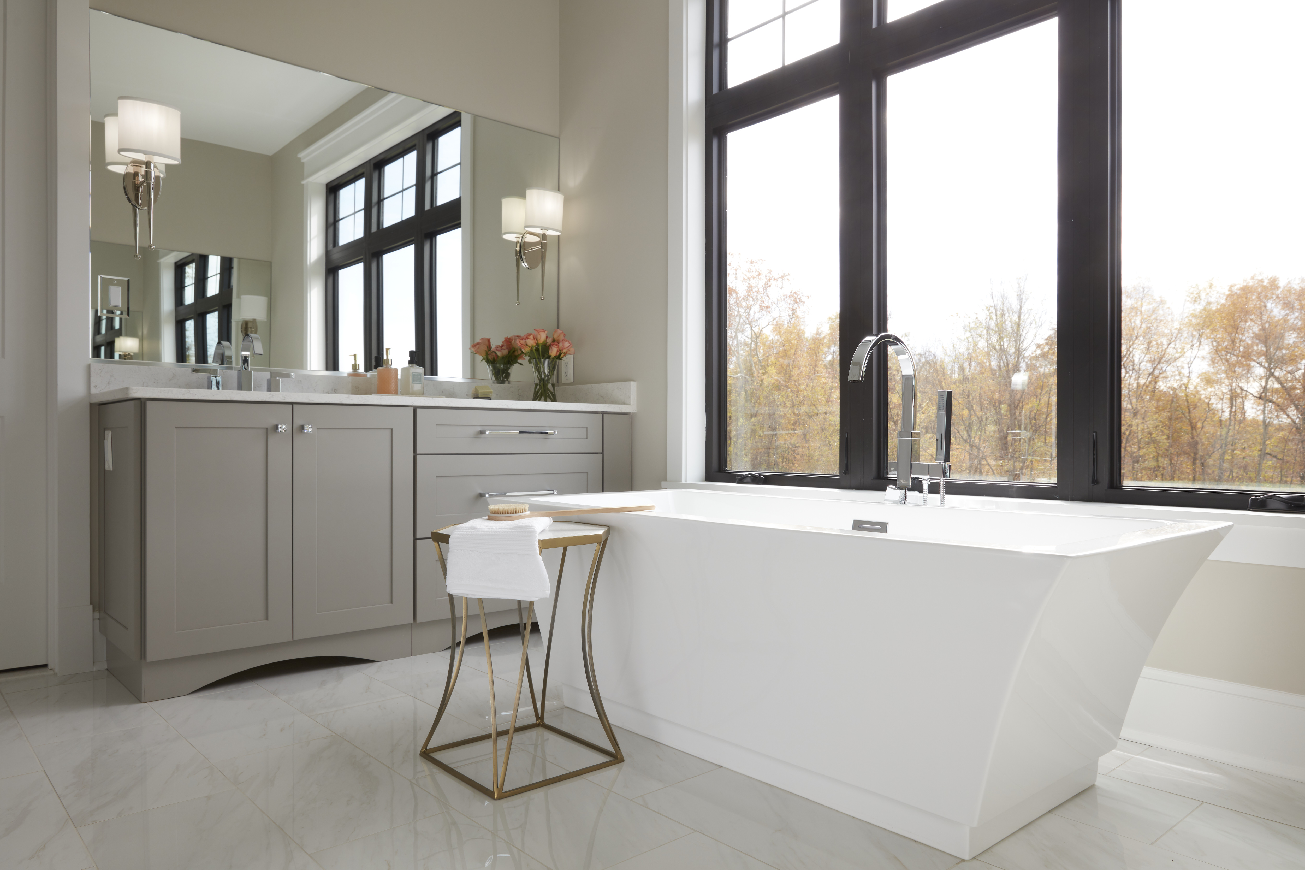 Frederick Master Bath Cabinet, Lighting and tub detail