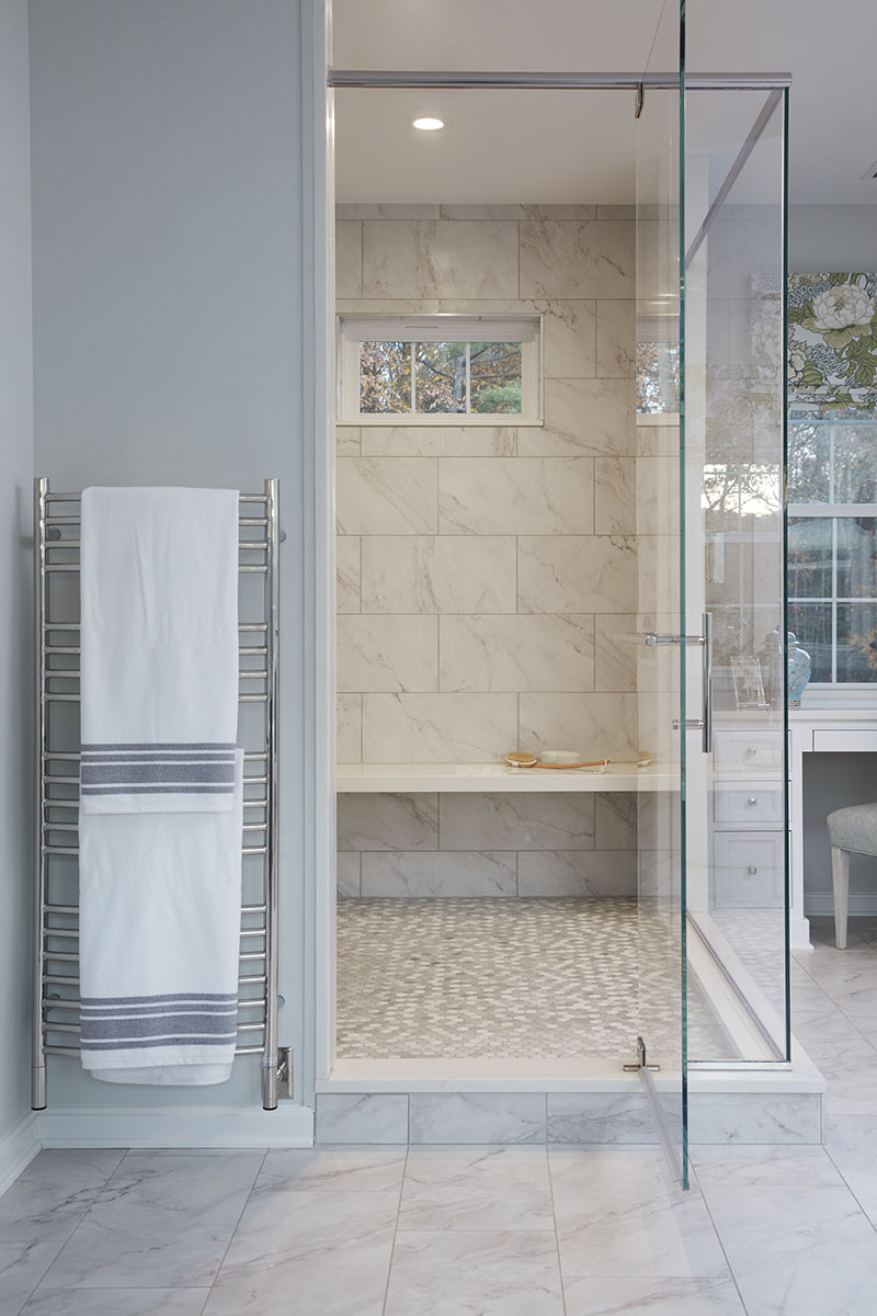 master bath addition shower stall and heated towel rack