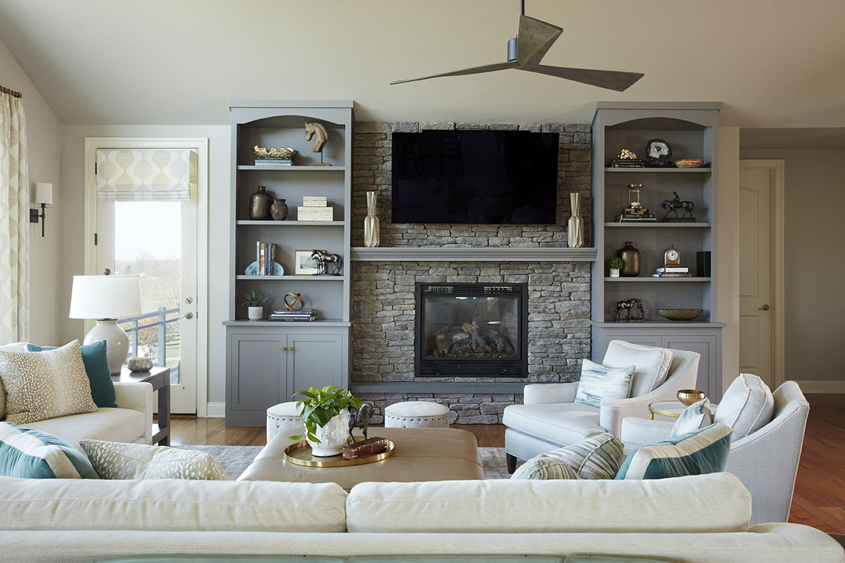 Great Room with built ins and fireplace